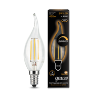 Лампа светодиодная Gauss LED Filament Candle tailed dimmable E14 5W 2700К 104801105-D