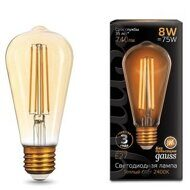 Лампа Gauss LED Filament ST64 E27 8W Golden ТеплыйК 157802008