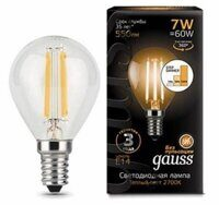 Лампа Gauss LED Filament Globe E14 7W 2700K step dimmable 105801107-S