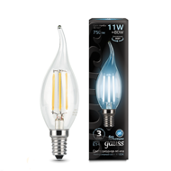 Лампа светодиодная Gauss LED Filament Candle tailed E14 11W 4100K 104801211
