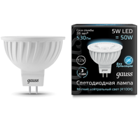 Лампа Gauss LED MR16 GU5.3 5W 12V 530lm 4100K 201505205