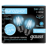 Комплект Gauss LED Filament Globe E27 5W 4100K 105802205