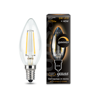 Лампа светодиодная Gauss LED Filament Candle dimmable E14 5W 2700К 103801105-D