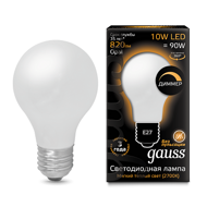 Лампа светодиодная Gauss LED Filament A60 OPAL dimmable E27 10W 2700К 102202110-D