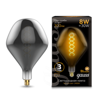 Лампа Gauss LED Vintage Filament Flexible SD160 8W E27 160*270mm Gray 2400K 163802008