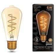 Лампа Gauss LED Filament ST64 Flexible E27 6W Golden ТеплыйК 157802006