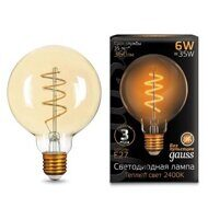 Лампа Gauss LED Filament G95 Flexible E27 6W Golden ТеплыйК 105802007