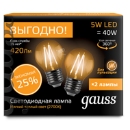 Комплект Gauss LED Filament Globe E27 5W 2700K 105802105P