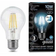 Лампа Gauss LED Filament A60 E27 10W 4100К step dimmable 102802210-S