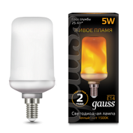 Лампа Gauss Led T65 Corn Flame 5W E14 1500K 157401105