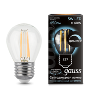 Лампа светодиодная Gauss LED Filament Globe dimmable E27 5W 4100К 105802205-D