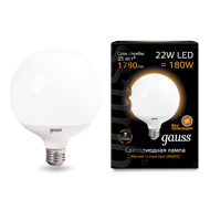 Лампа Gauss LED G125 E27 22W 3000K 105102122